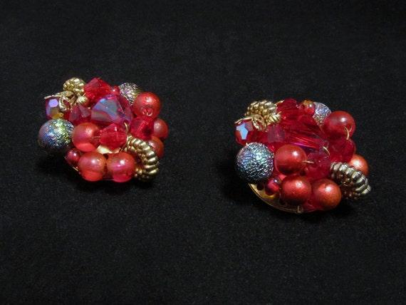 Festive Vintage Bead Cluster Earrings