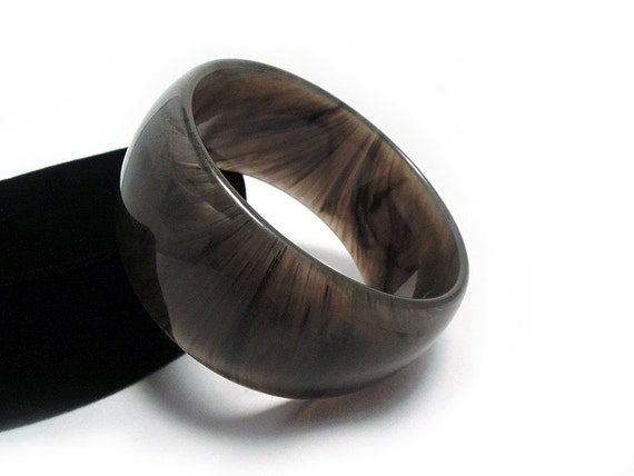 Dramatic, Wide Vintage Lucite Bangle in Thunderstorm