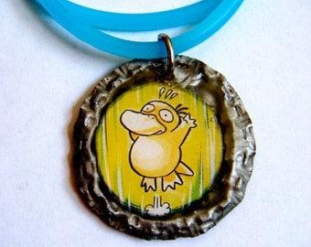 Psyduck Bottlecap Pendant Necklace