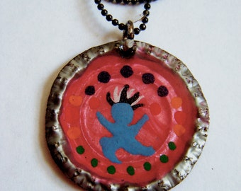 Princess original painting Bottlecap Pendant Necklace