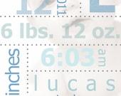 BIRTH DETAILS Personalized Custom Print Baby Nursery/Wall Art Decor 8x10 - Free Shipping