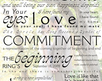 CEREMONY VOWS Personalized Custom Print - Typography Wedding Vows / Wall Art / Lyrics / Wedding Ceremony / Gift - Free Shipping