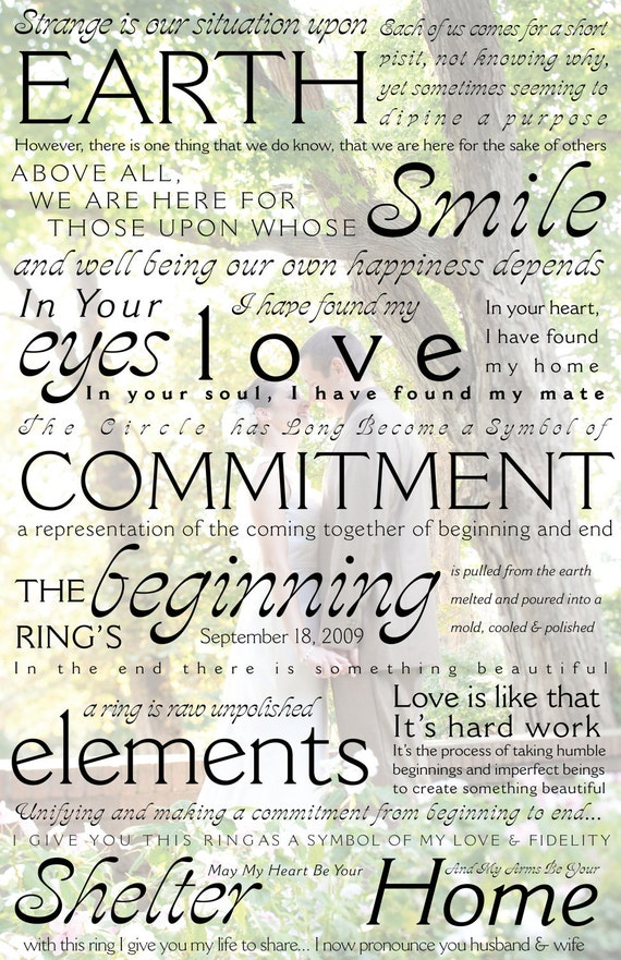 CEREMONY VOWS Personalized Custom Print - Typography Wedding Vows/Wall Art Decor/Lyrics/Wedding Ceremony/Poem Print 17x11 - Free Shipping