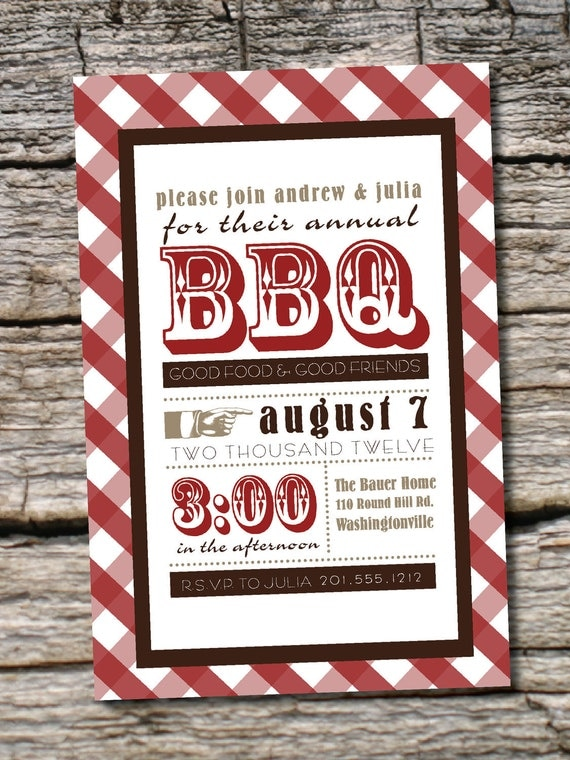 VINTAGE POSTER BBQ Barbeque Party Invitation by PaperHeartCompany