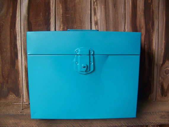 Vintage metal file cabinet box upcycled with turquoise teal Upcycled metal filing cabinet