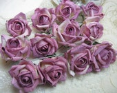 12 Medium Light Rose Parchment Paper Roses Wedding Floral Decorations