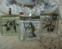 Antique Hummingbirds Postcard Glass Tile Pendant Necklace