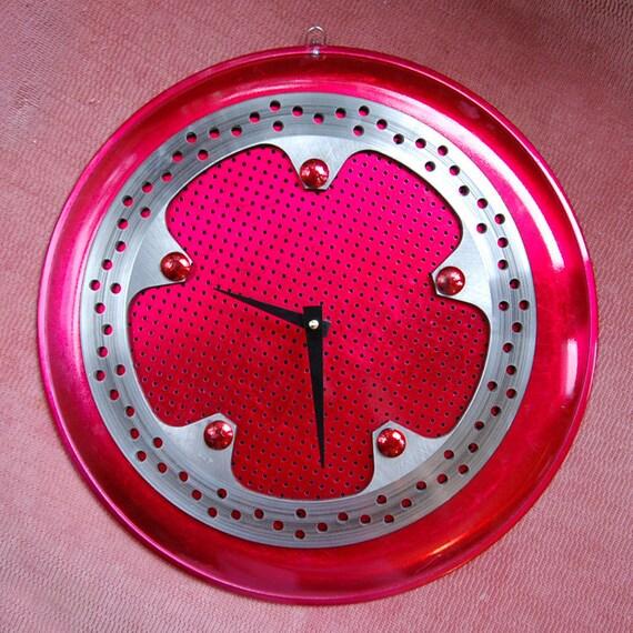 Lollipop Red Motorcycle Rotor Clock