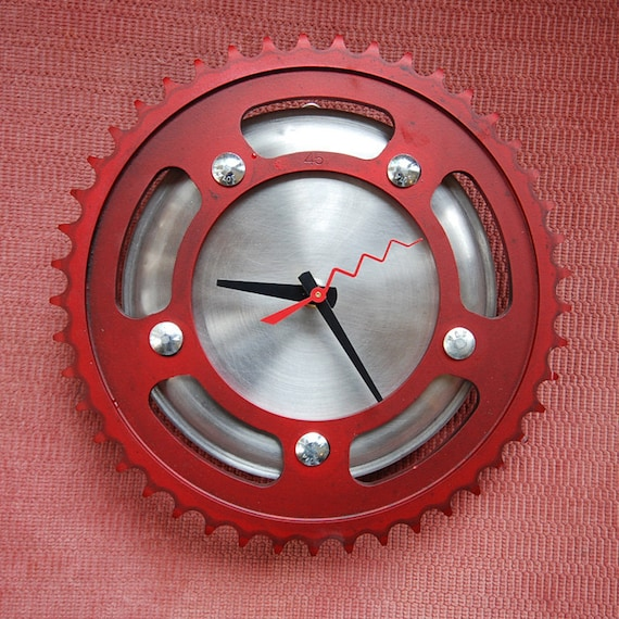 Paint the Town Red Sprocket Clock