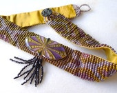 Deco Butterfly Choker Style Necklace Beadwoven in Lavender and Amethyst