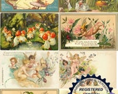 DIGITAL DOWNLOAD Fairies Vintage Postcards Advertising2 Resizeable Collage Sheet