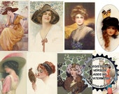 DIGITAL DOWNLOAD Vintage Art Deco Women Featured Postcards Resizeable Collage Sheet