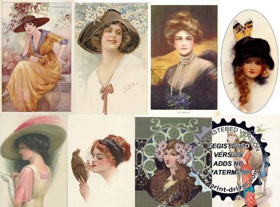 DIGITAL DOWNLOAD Vintage Art Deco Women Featured Postcards Resizeable Collage Sheet