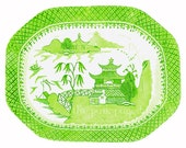 Blue Willow in Lime Green Chinoiserie Platter Giclee