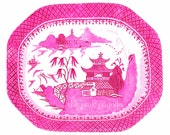 Blue Willow in Bright Pink Chinoiserie Platter 11x14 Giclee - thepinkpagoda