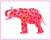 Pink and Red Elephant Giclee 8x10 - thepinkpagoda
