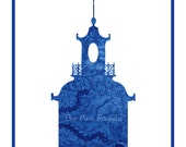 Pair of Navy Chinese Floral Pagoda Silhouettes Giclee