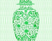 SALE Ming Green Chinoiserie Ginger Jar 13 x 19 Giclee