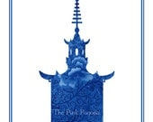 Navy Chinese Floral Pagoda Silhouette Giclee