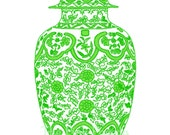 Ming Chinoiserie Green Ginger Jar on White 13x19 Giclee