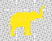 Yellow Elephant Silhouette on Gray Lattice Facing Right Giclee