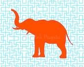 Tangerine Orange Elephant Silhouette on Turquoise Lattice Facing Left Giclee 11x14