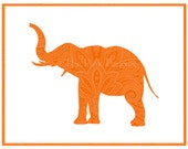 Tangerine Paisley Indian Elephant Silhouette Facing Left Giclee