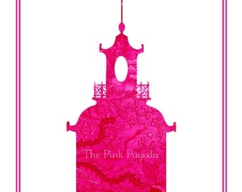 Pair of Pink Pagoda Giclee Fine Art Prints