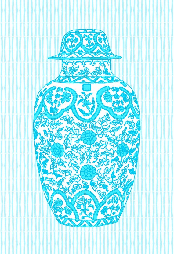 Reserved for Leslie Turquoise Ming Chinoiserie Ginger Jar 11x14 Giclee