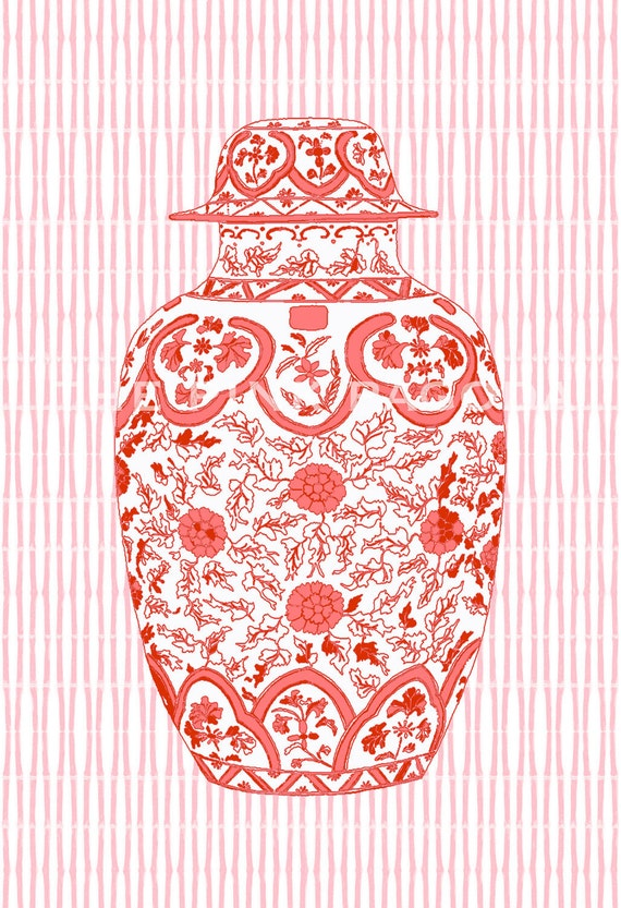 SALE Coral Ming Chinoiserie Ginger Jar on Bamboo Stripe 13x19 Giclee