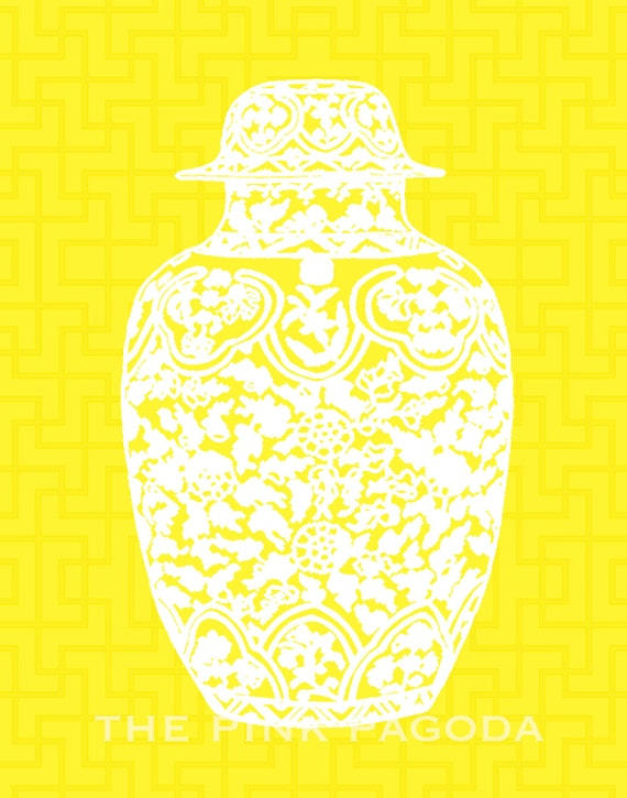 White Ming Chinoiserie Ginger Jar on Yellow Lattice 11x14 Giclee
