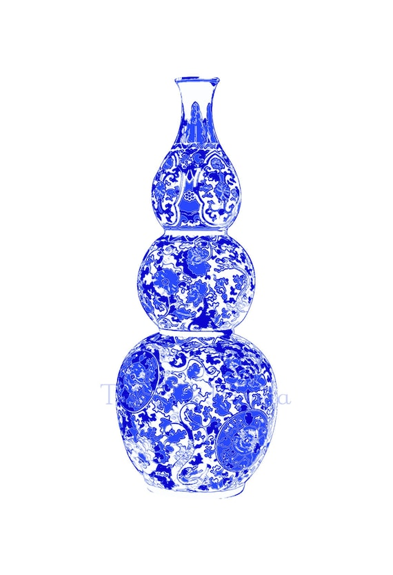 Blue and White Triple Gourd Chinoiserie Vase 13x19 Giclee