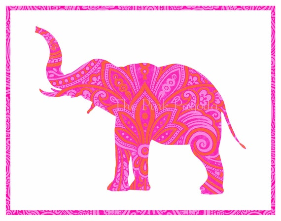 Tangerine Orange and Hot Pink Indian Paisley Elephant Silhouette Giclee