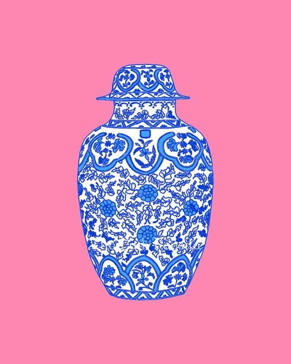 Ming Blue Chinoiserie Ginger Jar on Coral Pink 8x10 Giclee