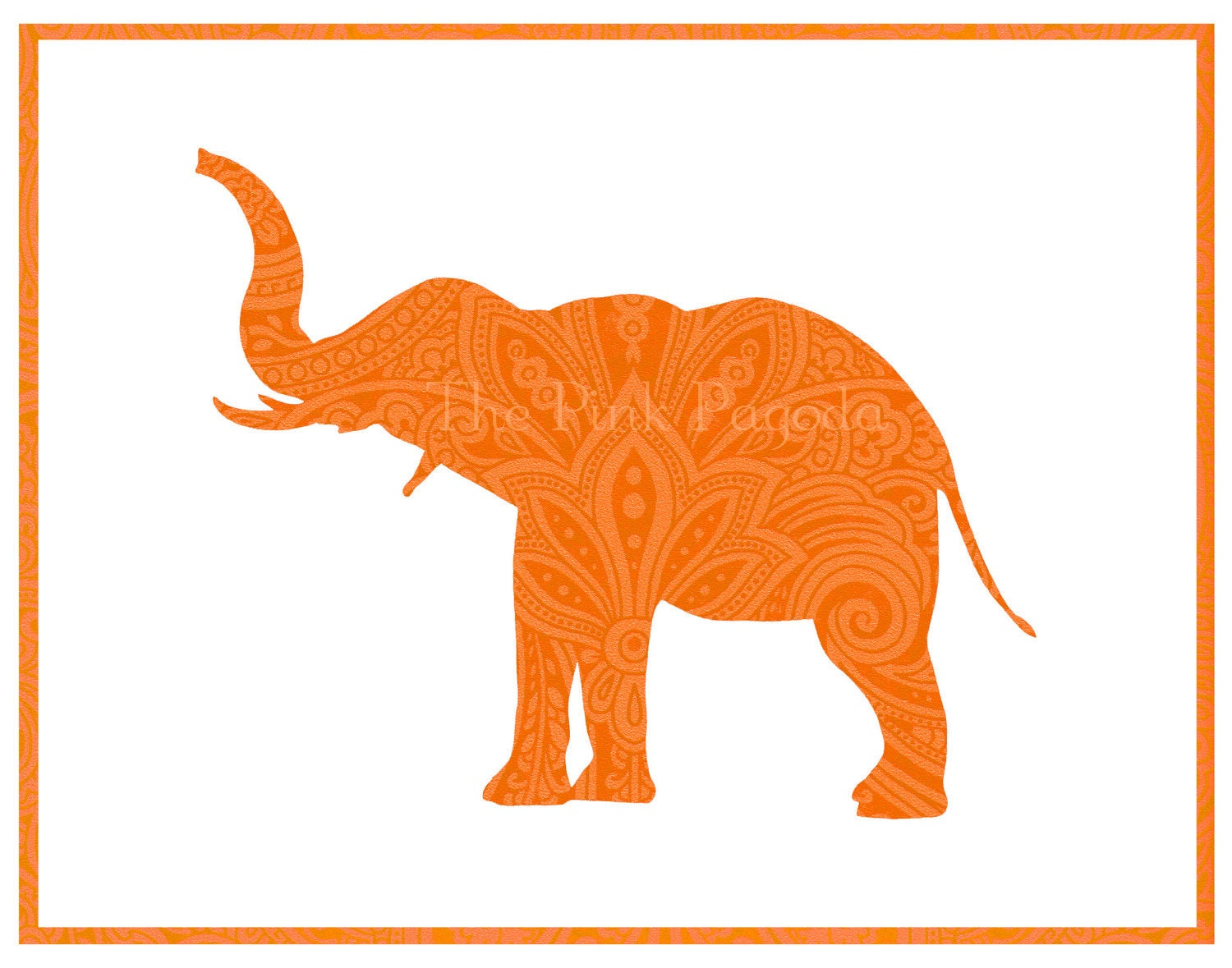 Tangerine Paisley Indian Elephant Silhouette by thepinkpagoda