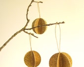 SALE 20% off - paper Christmas ornaments - gold pom pom - bauble balls - simple - modern - natural - rustic - was 19.95