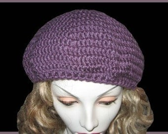 Sale on Lavender Crocheted Beret Free US Shipping
