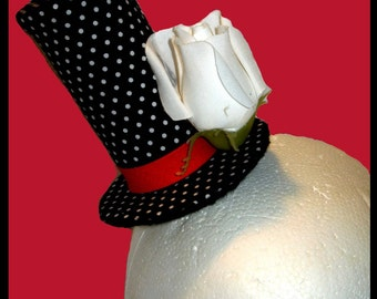 Sale on Black and White Polka Dot Top Hat with White Rose