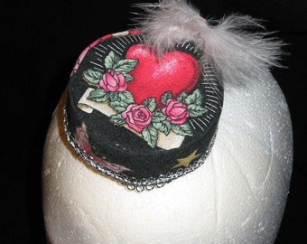 Sale on Red Heart Mini Pillbox with White Feather