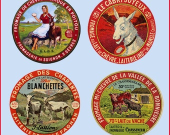 Goat Cheese Label Coasters - Set of Four