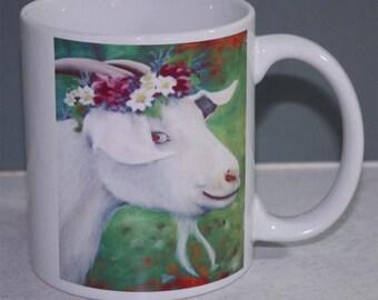 Cute Goat With Flowers Mug