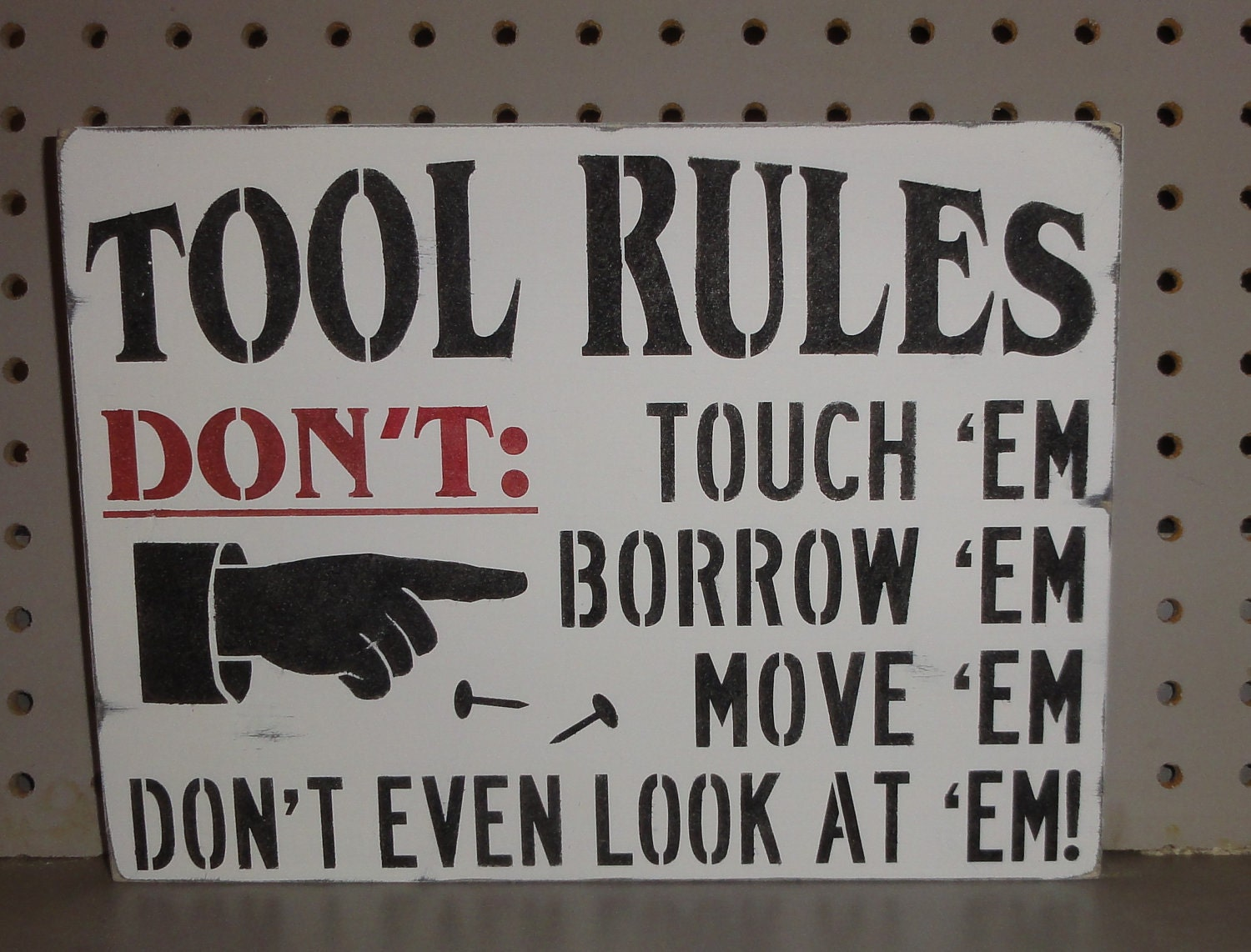 Tool Rules Father Dad Garage Shop Shed Wall Sign Decoration