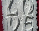 Elegant Papercast LOVE matted to 8x10 inches