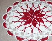 Red and White scalloped Doily holiday decor large 9 inch crochet doily valentines day doily