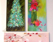 3 tall vintage holiday cards unsigned with extra envelopes