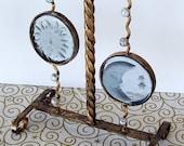 Vintage lamp celestial sun moon stars metal and glass
