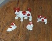 Mid century ceramic dog and  three puppies miniature figurines stocking stuffers gift idea made in Japan
