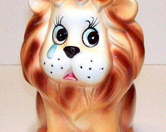 Vintage Inarco sad face lion planter