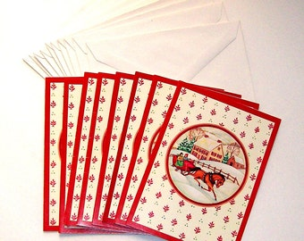 8 vintage Christmas cards and 10 envelopes. Unsigned.