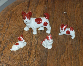 Ceramic dog and puppies